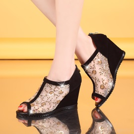 Sequins Mesh  Wedge Sandals