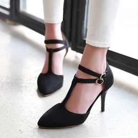 Suede T-Strap Covering Heel Sandals
