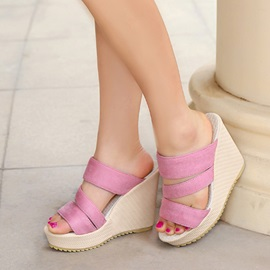 PU Slip-On Wedge Sandals