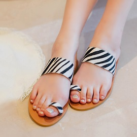 Striped Ring-Toe Flip-Flops