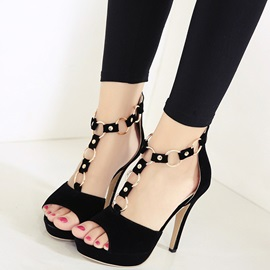 Suede Peep-Toe Chains ed Pumps