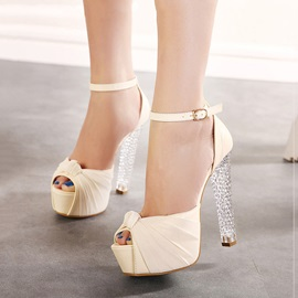 Bowtie Peep-Toe Crystal Heel Sandals