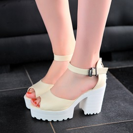 PU Peep-Toe Simple Chunky Heel Sandals