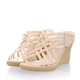 PU Caged Slip-On Wedge Sandals
