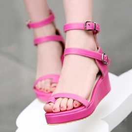 PU Ring-Toe Wedge Buckles Sandals