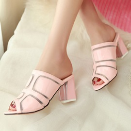Geometric Peep-Toe Chunky Heel Sandals