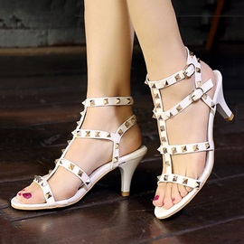 PU Rivets Low Heel Sandals