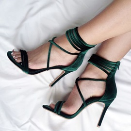 Faux Suede Zipper Stiletto Heel Fashion Sandals