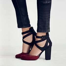 Suede Buckle Block Heel Platform Women's Sandals