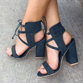 Dark Blue Block Heel Sandals