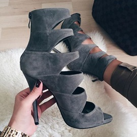 Faux Suede Open Toe Zipper Stiletto Women's Gray Shoes