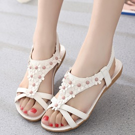 PU Slip-On 3D Plain Strappy Women's Flat Sandals