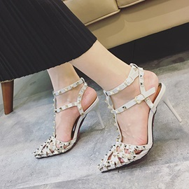 PU Line-Style Buckle Rivets Cutout Sandals