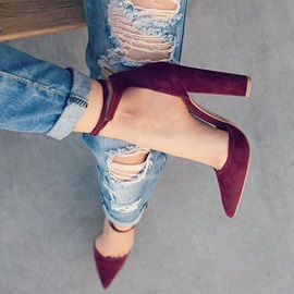 Suede Elastic Band Chunky Heel Women's Stylish Shoes