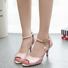 Korea Buckle Beads Heel Covering Women's Heel Sandals