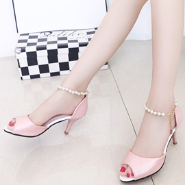 PU Buckle Heel Covering Stiletto Heel Women's Sandals