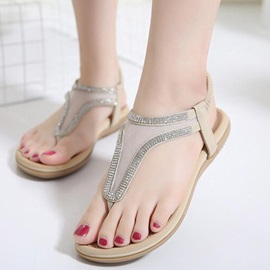 Simple Elastic Band Rhinestone Thong Women's Sandals