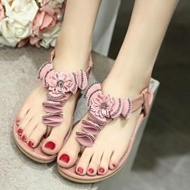 PU Elastic Band Rhinestone Clip Toe Women's Sandals
