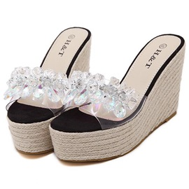 Rhinestone Slip-On Flip-Flop Wedge Sandals