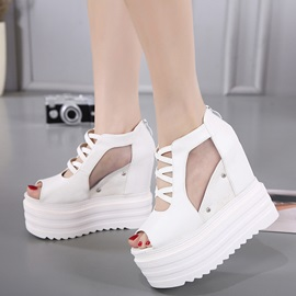 PU Zipper Hollow Hidden Heel Sandals for Women