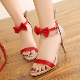 Cute Line-Style Buckle High Heel Bowtie Open-Toe Women's Sandals