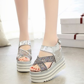 Comfy Buckle Sequins Platform Women's Wedge Shoes