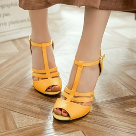 PU T-Shaped Buckle Peep-Toe Women's Heel Sandals