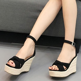 Nubuck Leather Line-Style Buckle Stylish Women's Wedge Sandals