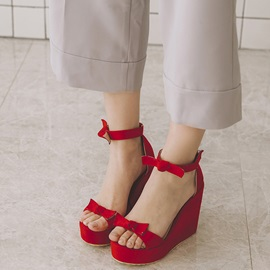 Cute PU Velcro Platform Bowtie Women's Wedge Sandals