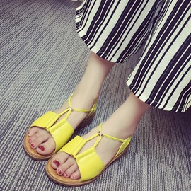 PU Comfy Strappy Open Toe Flat Sandals