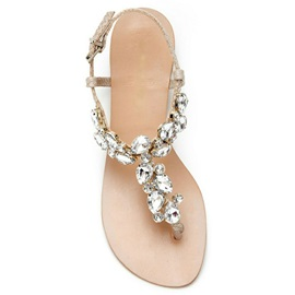 Bright Rhinestone Thong Flat Sandals