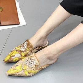 Suede Embroidery Floral Pointed Toe Women's Sandals