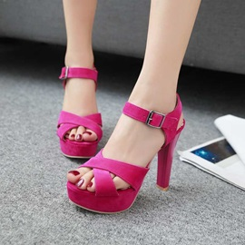 Stylish Suede Line-Style Buckle Women's Sandals