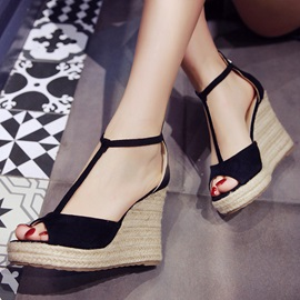 PU Zipper T-Shaped Buckle Women's Wedge Sandals