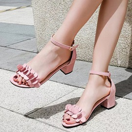 PU T-Shaped Buckle Block Heel Women's Sandals