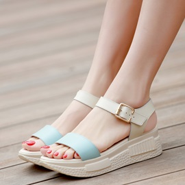 PU Comfy Buckle Open Toe Platform Women's Sandals