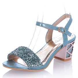 Sequins Line-Style Buckle Block Heel Women's Sandals
