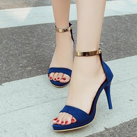 Suede Zipper Sexy Women's Peep Toe Sandals