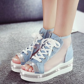 Canvas Lace-Up Rhinestone See Through Sandals