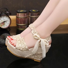 PU Lace-Up Lace Ribbon Women's Wedge Sandals