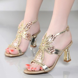 PU Buckle Rhinestone Heel Sandals for Women