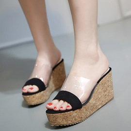 PU Slip-On Platform See Through Women's Slippers