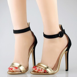 Sequins Stiletto Heel Buckle Heel Covering Women's Sandals