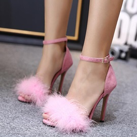 Suede Line-Style Buckle Open Toe Heel Covering Shoes