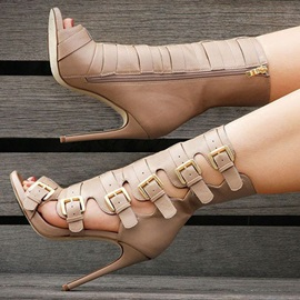 Stylish Buckled Cage Fashion Booties