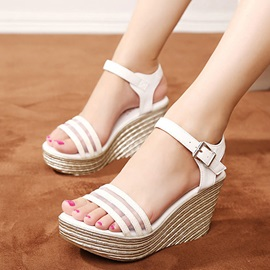 PU Line-Style Buckle Ankle Strap Wedges