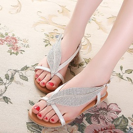 PU Buckle Rhinestone Open Toe Flat Sandals