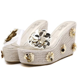 Slip-On Appliques Rhinestone Women's Wedge Sandals