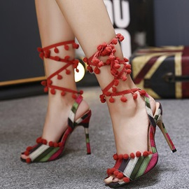 Canvas Lace-Up High Heel Chic Sandals