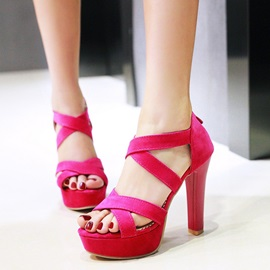 Suede Zipper Heel Covering Women's Sandals